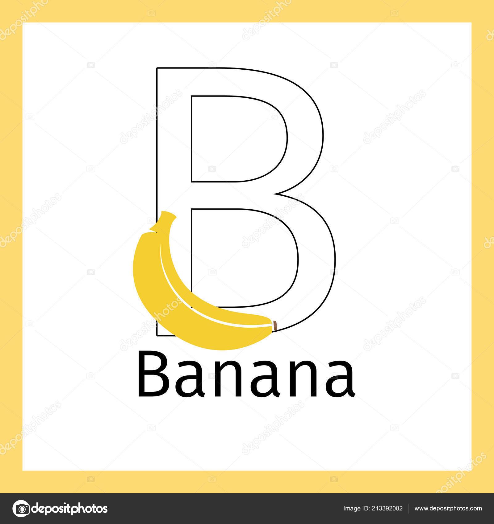 Muz Ve Mektup B Boyama Sayfası Stok Vektör Ssstocker 213392082