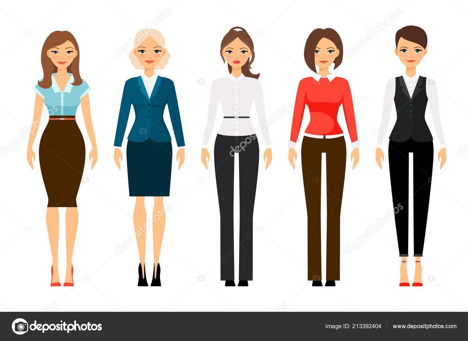662c6f8a6 Mujeres en ropa de estilo oficial — Vector de stock © ssstocker ...