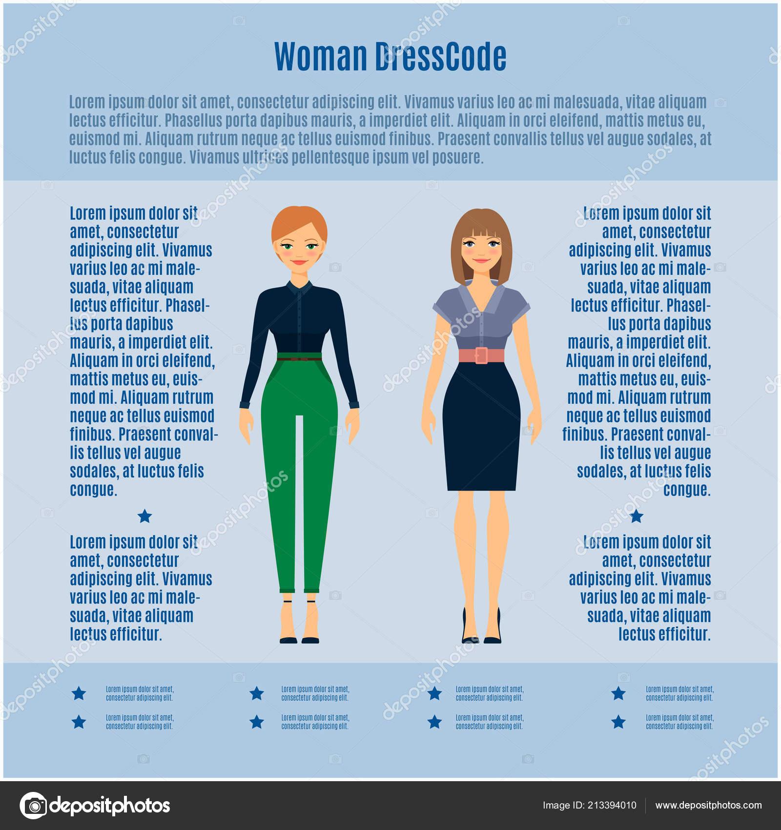 9aaea7dfa Código de vestimenta de mujer vector infografía sobre fondo azul claro —  Vector de ...