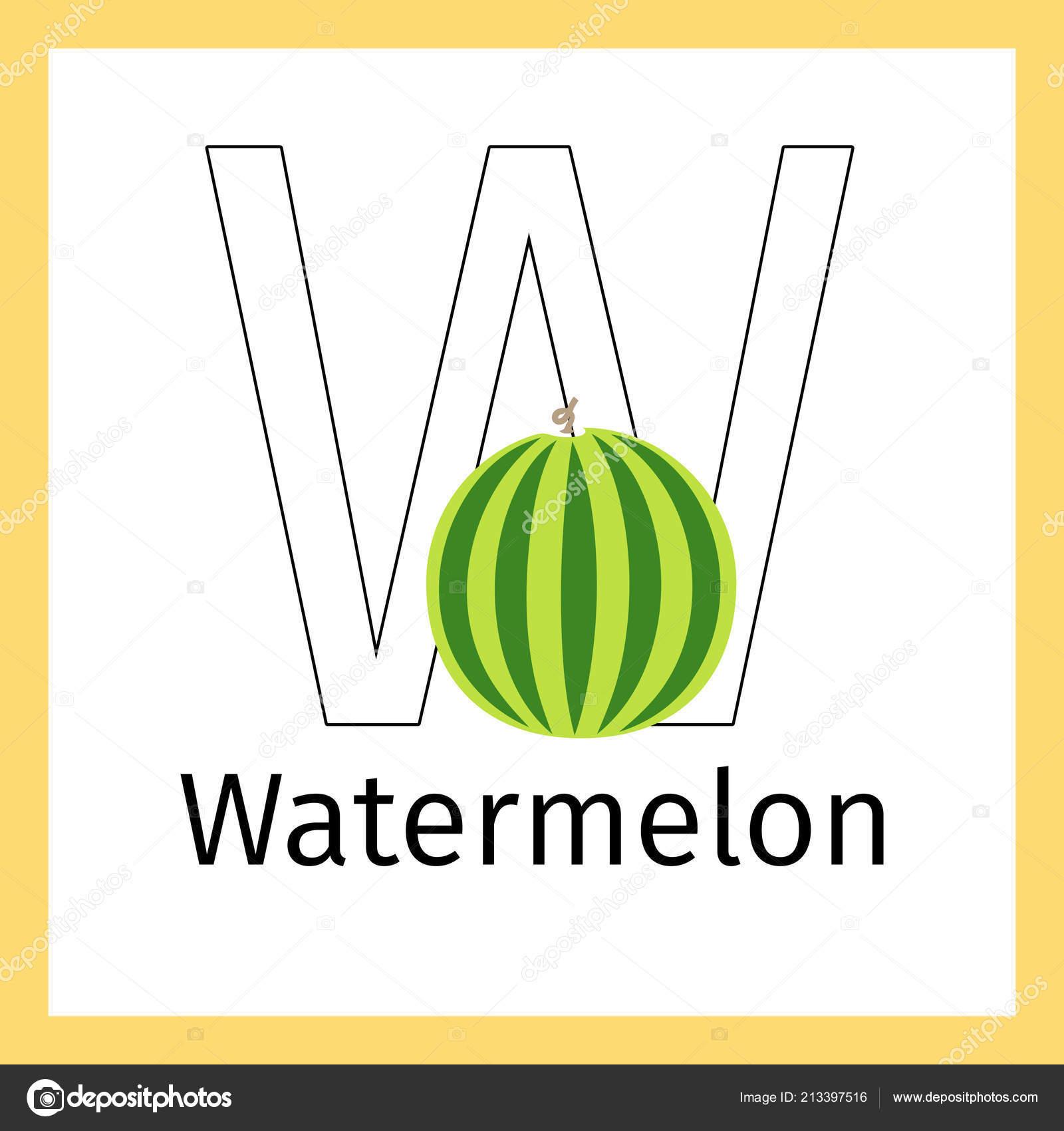 Wassermelone Und Malvorlagen Buchstaben W Stockvektor