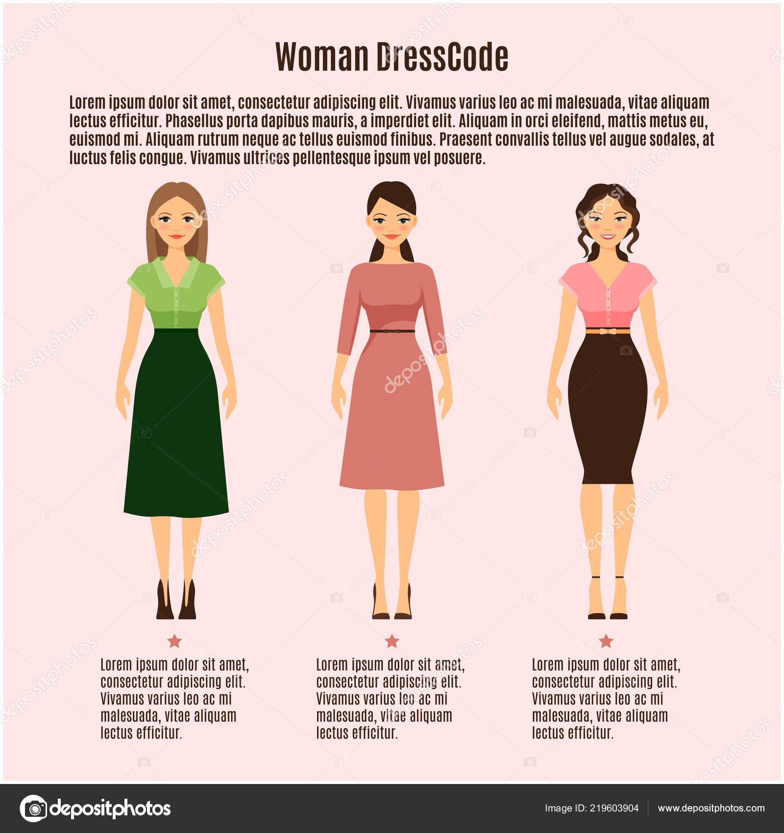 c37ff4e19 Código de vestimenta de mujer vector infografía sobre fondo rosa — Vector  de ...