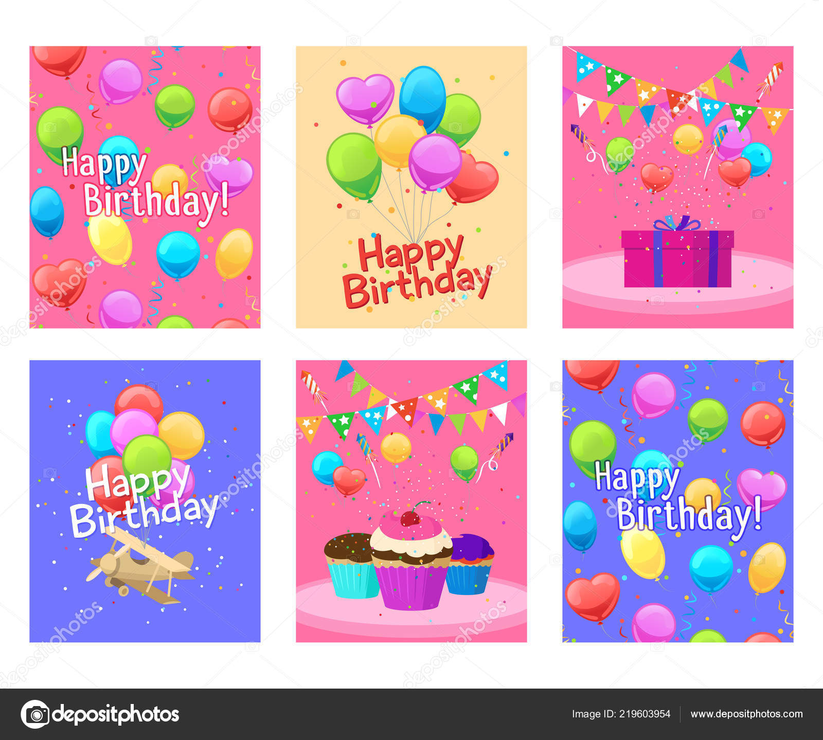 Cool Happy Birthday Invitation Cards Set Stock Vector C Ssstocker Funny Birthday Cards Online Fluifree Goldxyz