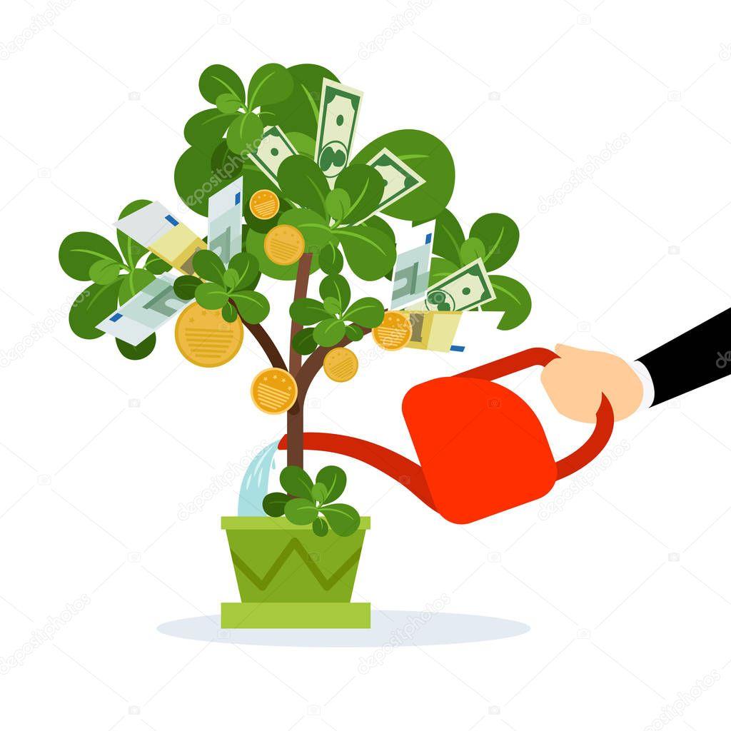 Money tree care illustration