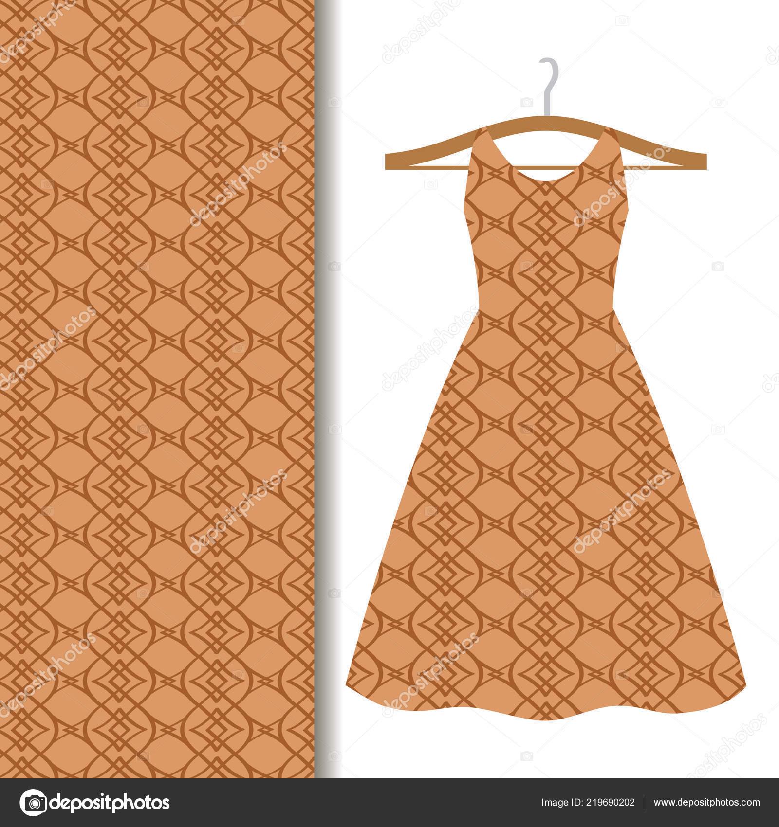 Frauen Kleiden Sich Stoff Muster Design Auf Einem Kleiderbugel Mit