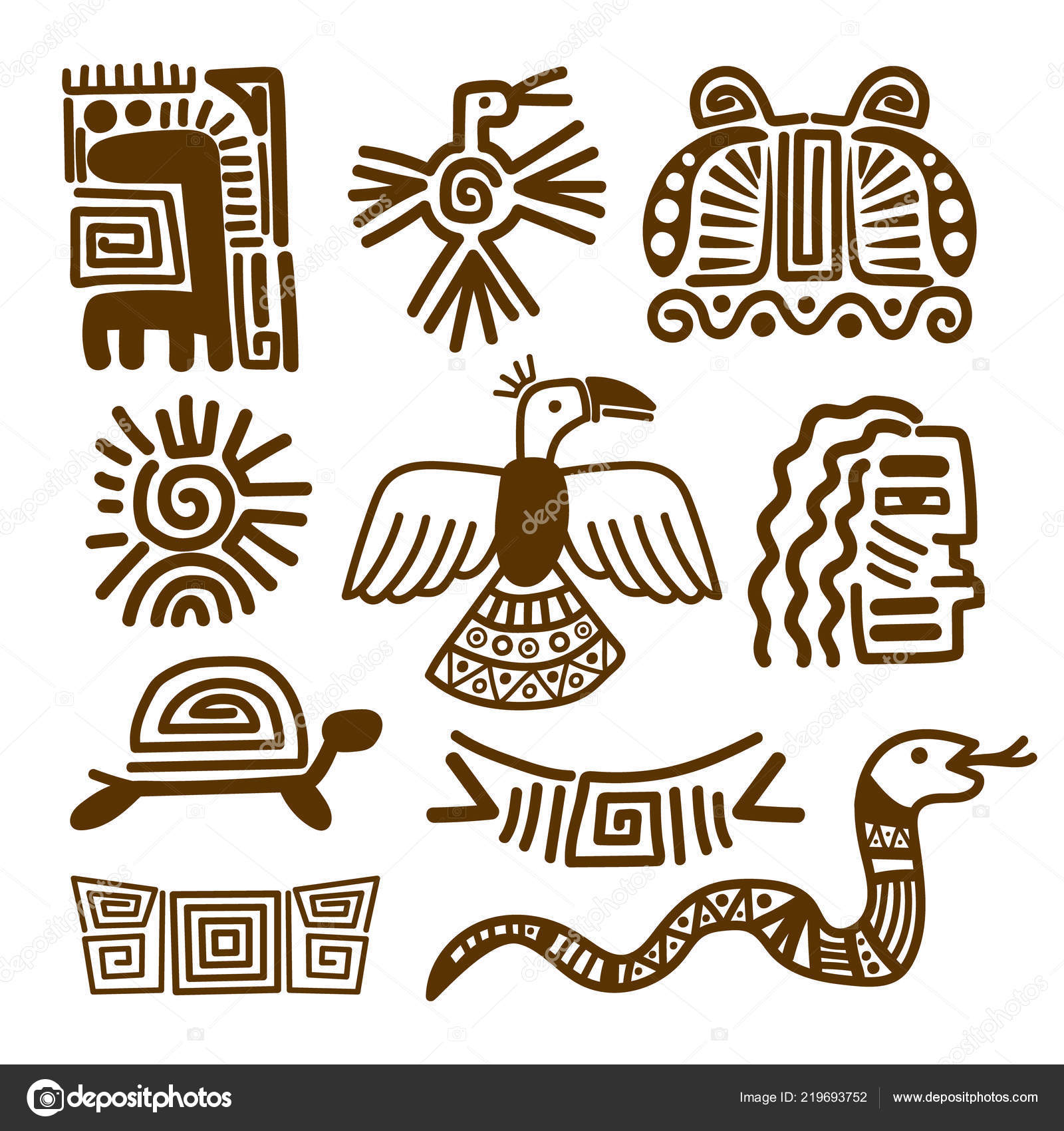 e533d840a9a9f Tribal indian patterns or ancient mexican symbols vector illustration —  Vector by ssstocker