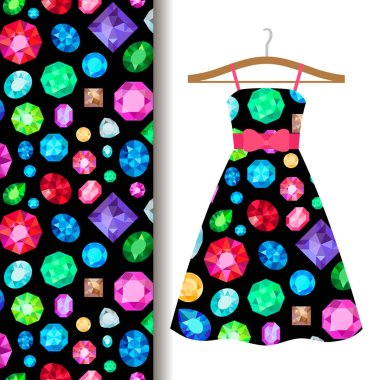 Women dress fabric pattern with gems