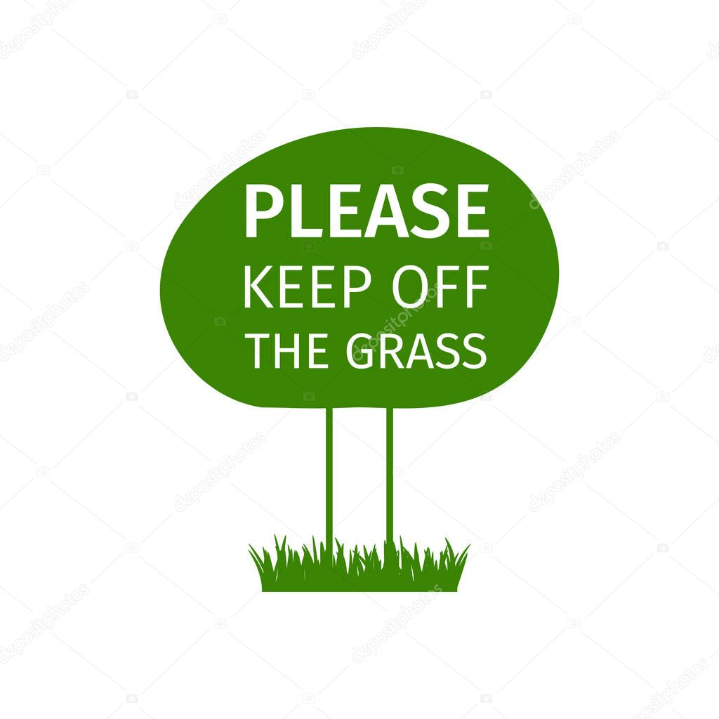 Keep off the grass round sign