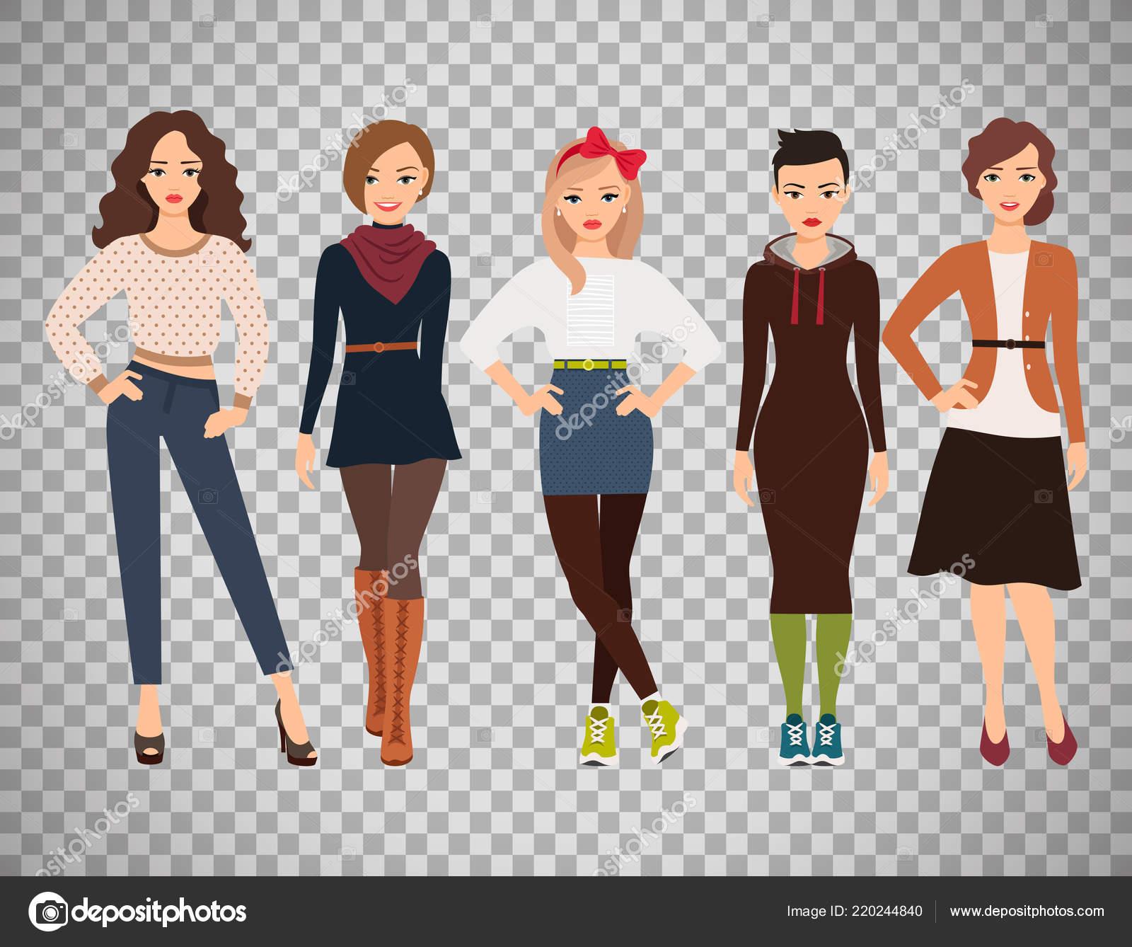 c9514246422d Adolescentes de la historieta de vestimenta cotidiana — Vector de ...