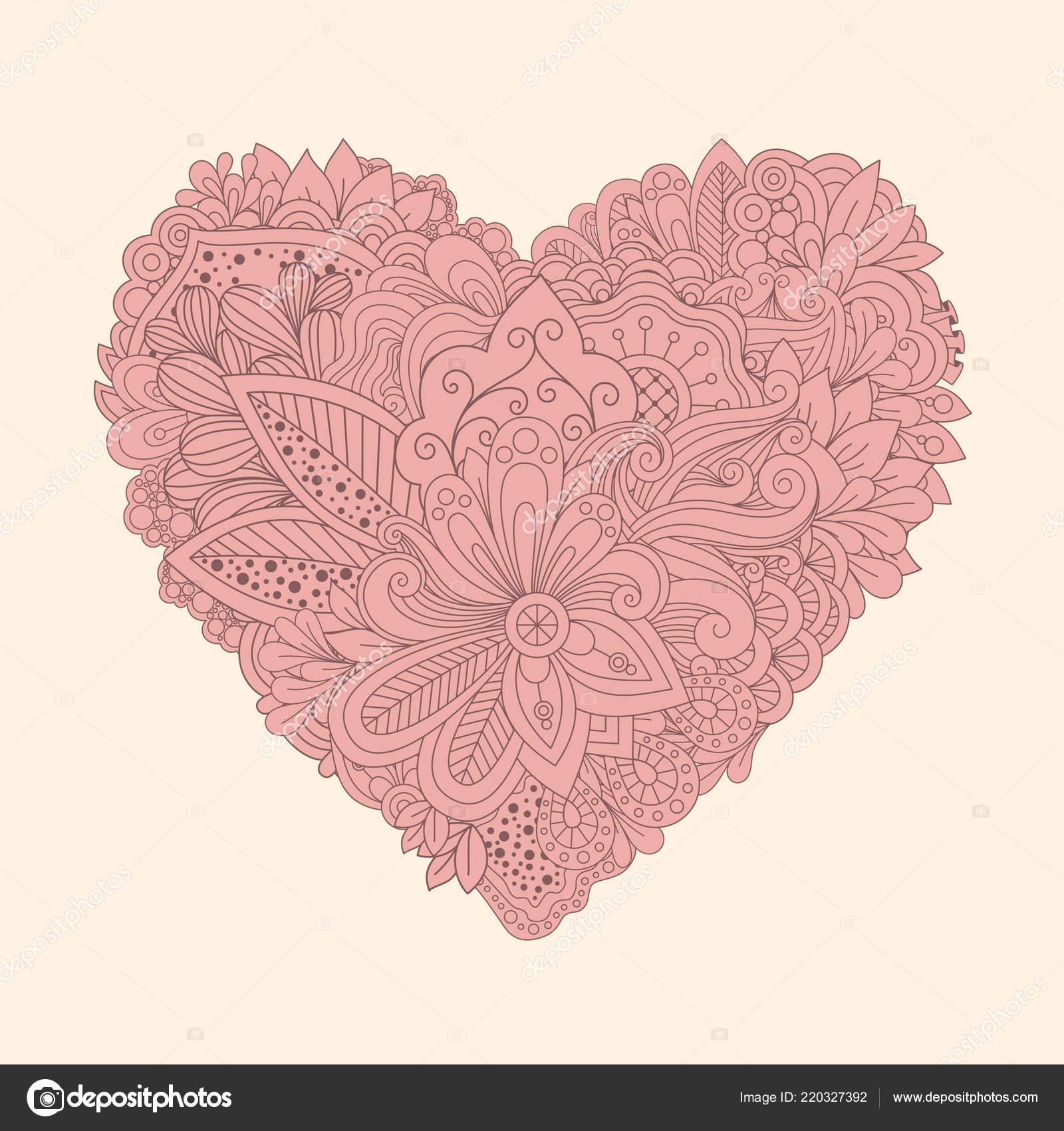 Doodle Corazón Floral Corazón Para Imprimir Vintage Con Flores