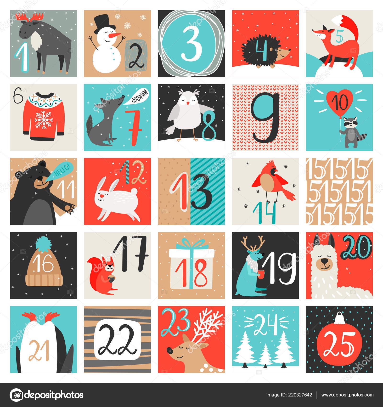 Calendario Countdown.Advent Calendar December Countdown Calendar Vector