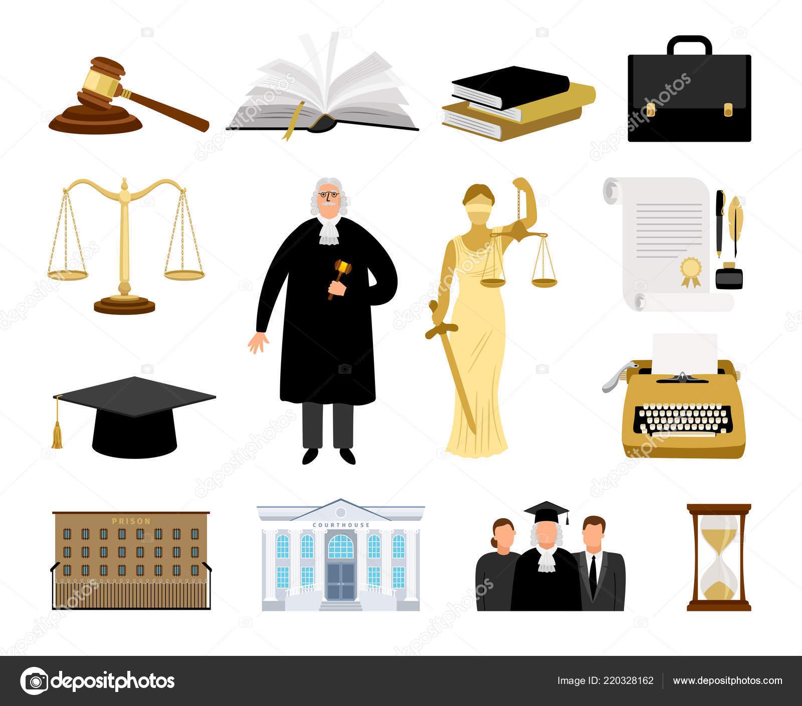Iconos de la ley y la justicia establecidos. Diseño plano. ilustración  vectorial — Vector de stock © ssstocker #220328162