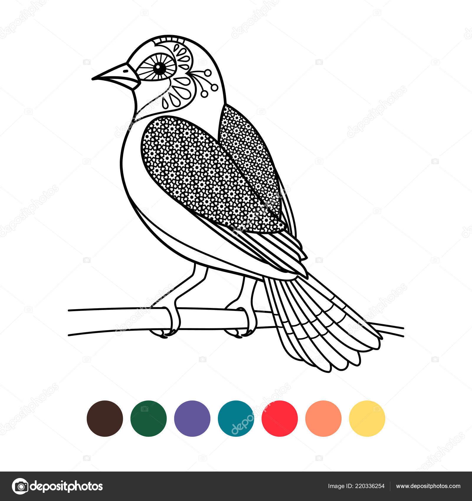 Antistress Coloring Zentangle Bird Stock Vector C Ssstocker
