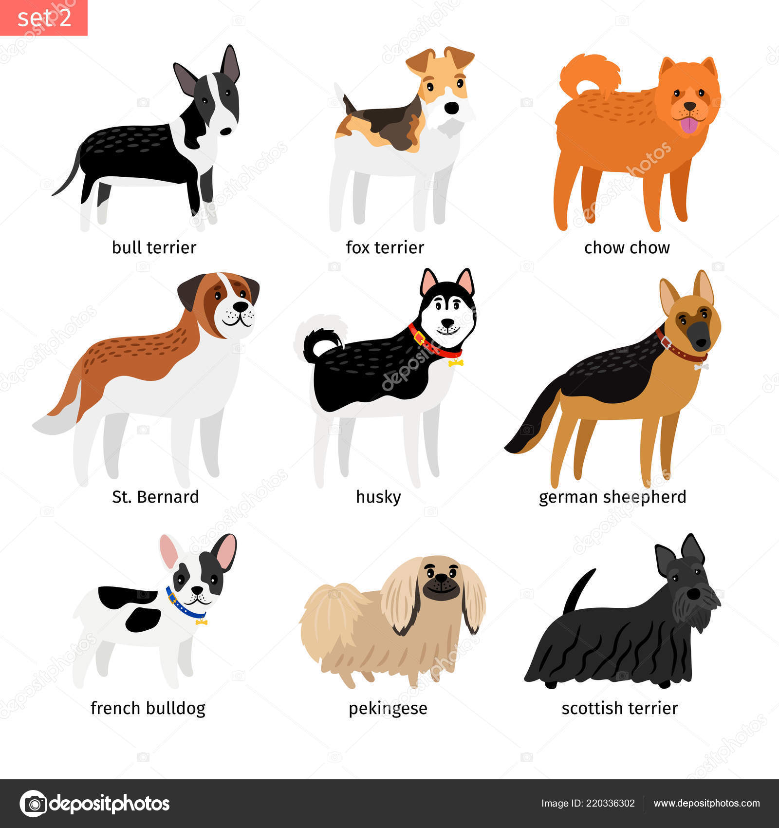 Cartoon Dogs Icons Set Stock Vector Ssstocker 220336302