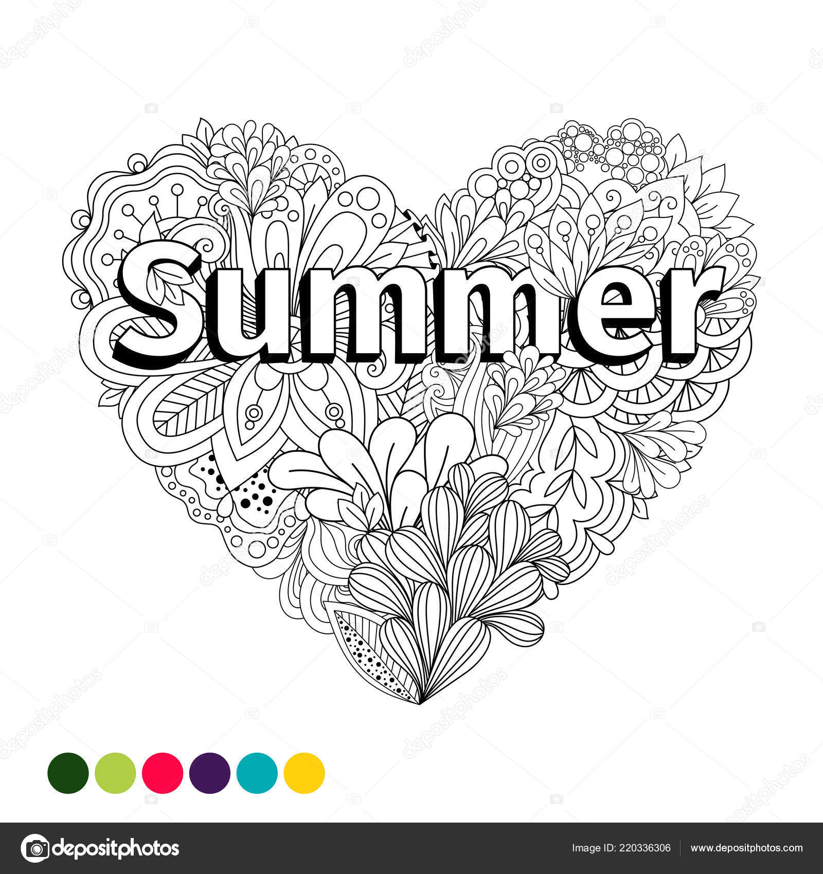 Doodle Flowers Heart Coloring Page Isolated White Background ...
