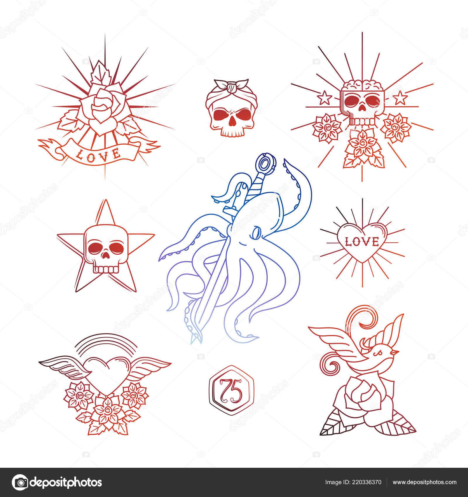 Tatuajes Lineales Con Elementos De Craneo Vector Ilustracion