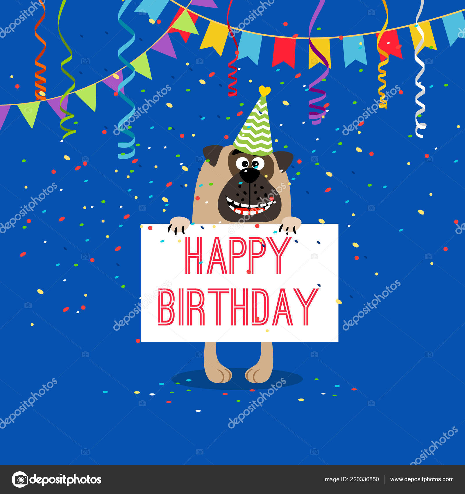 Happy Birthday Greeting Card With Dog Stock Vector