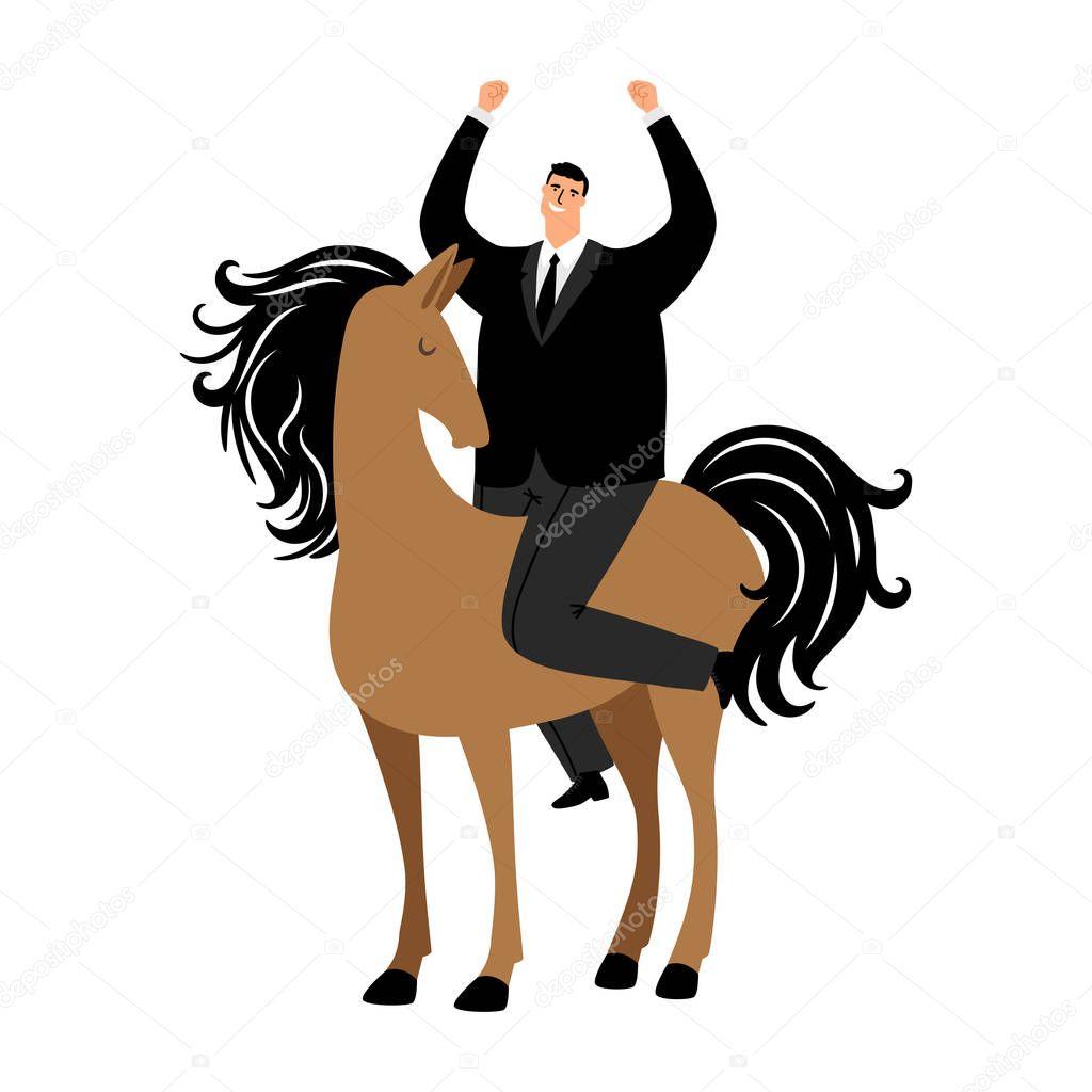 Cartoon Successful Businessman Riding A Horse Vector Illustration Man Horse Riding Businessman Success Premium Vector In Adobe Illustrator Ai Ai Format Encapsulated Postscript Eps Eps Format