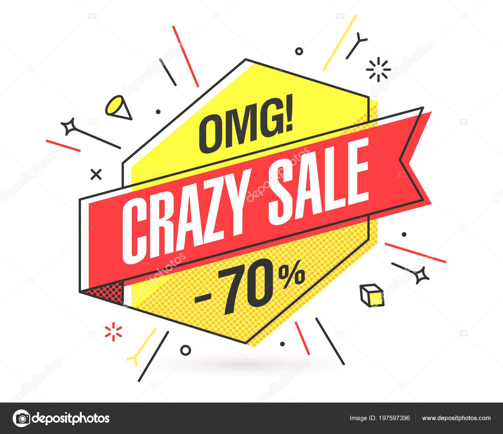 Crazy Sale Banner Template Flat Trendy Memphis Geometric Style Retro