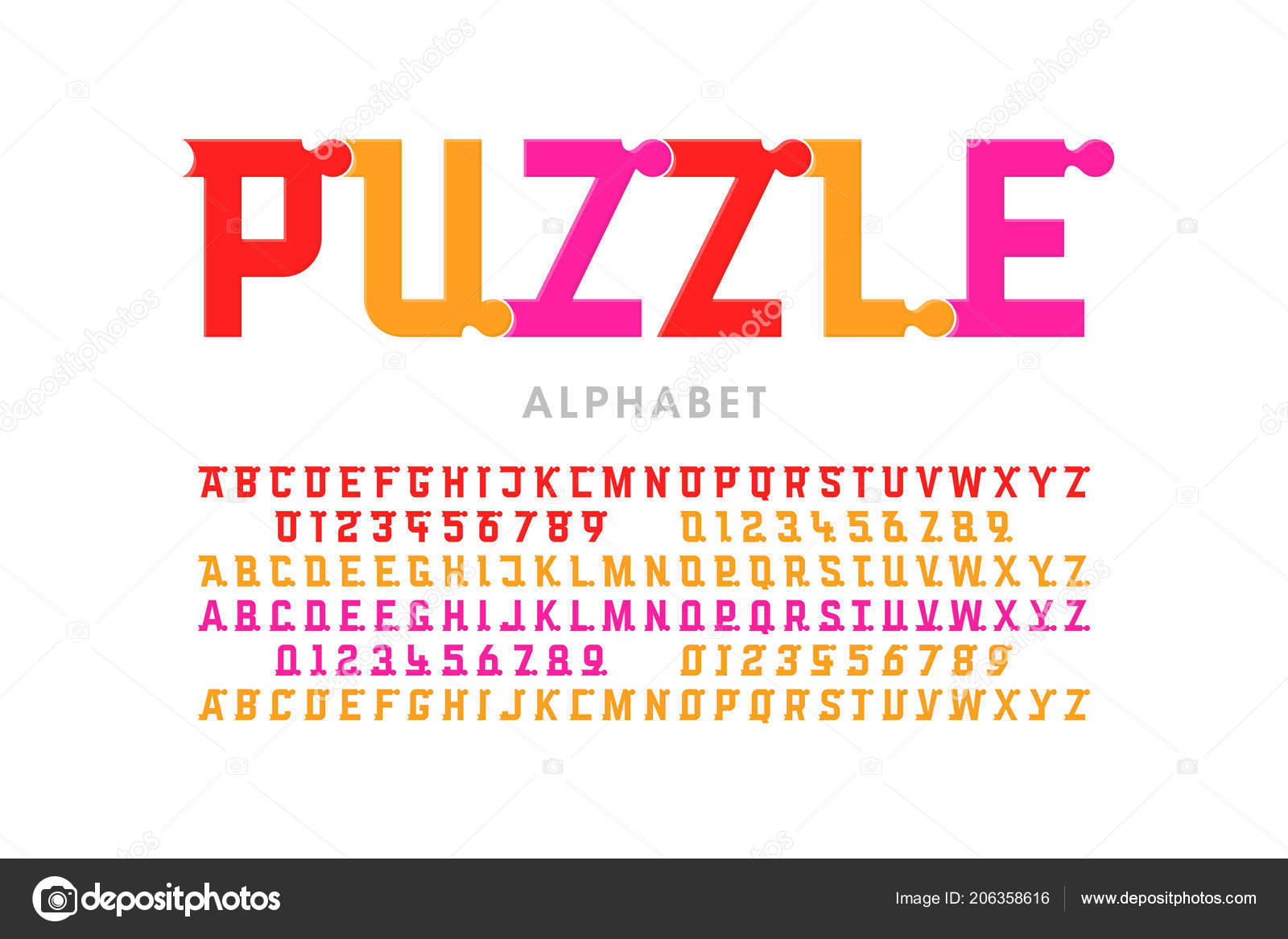 Puzzle Font Colorful Jigsaw Puzzle Alphabet Letters Numbers ...
