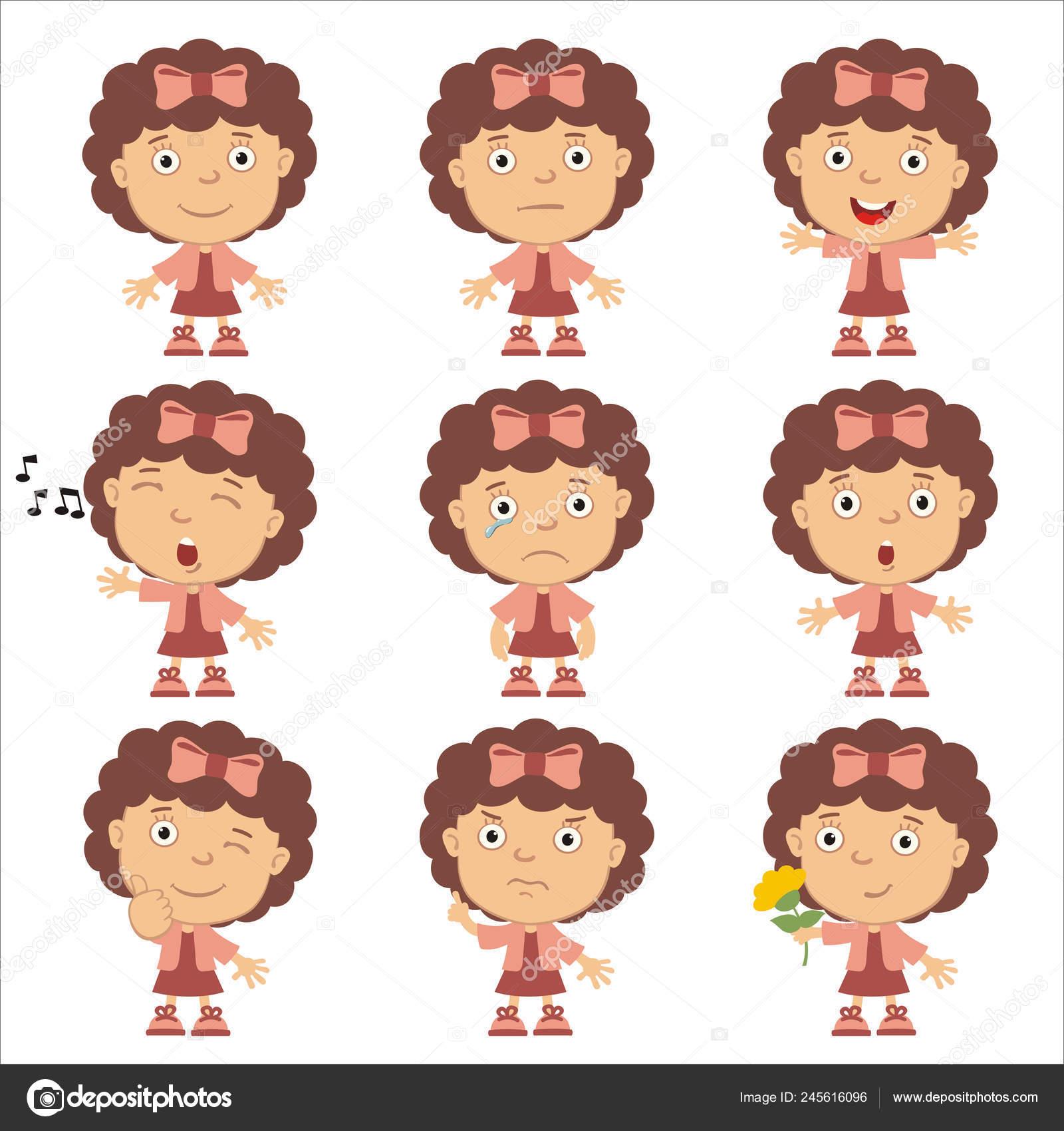 Cartoon Characters With Curly Hair Set Charming Cartoon Characters Girls Curly Hair Pink Bow Different Stock Vector C Dmitriy D 245616096