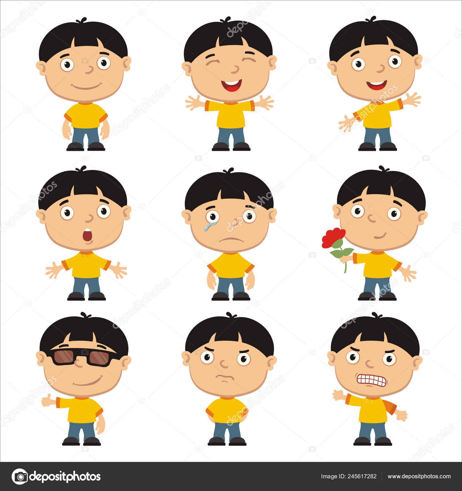 Set Charming Cartoon Characters Boys Black Hair Different Emotions