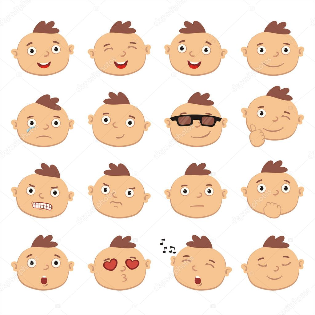 Set Of Charming Cartoon Characters Of Boy Faces With Different