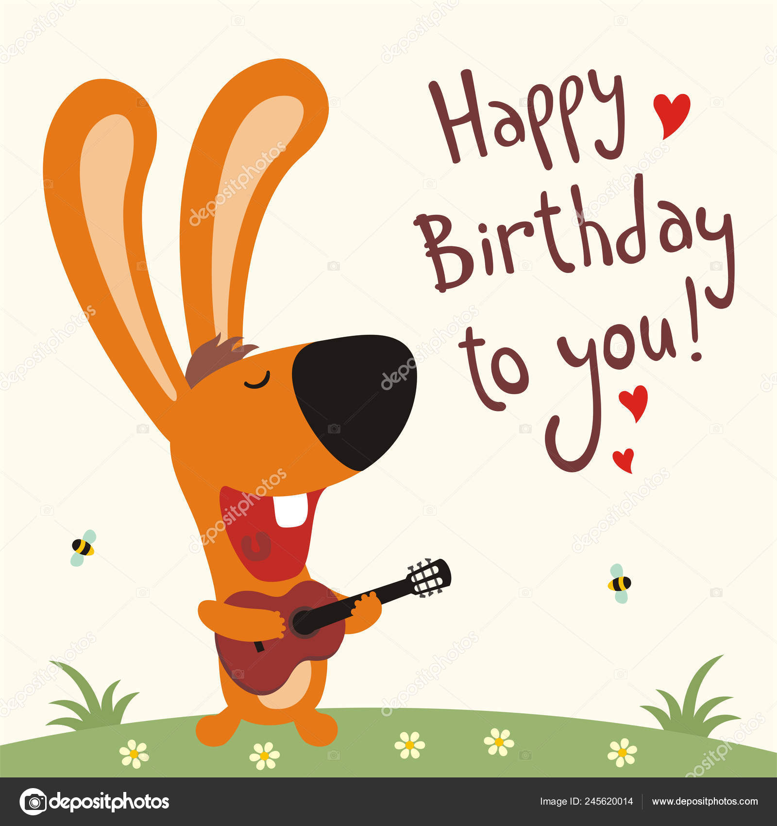 Greeting Card Cute Funny Cartoon Character Rabbit Guitar Sings Song Stock Vector C Dmitriy D 245620014