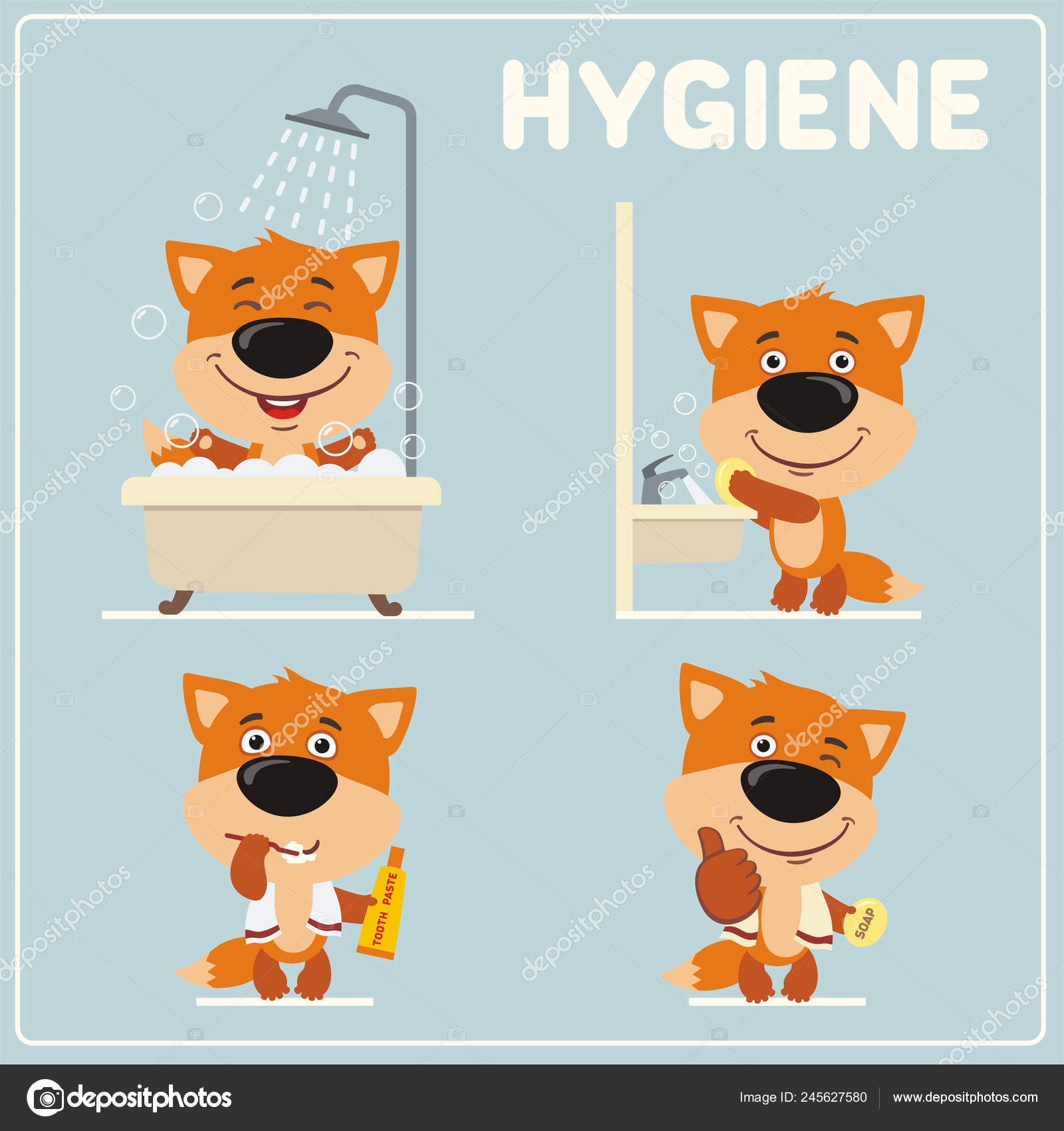 Set Cute Funny Foxes Cartoon Style Showing Rules Child
