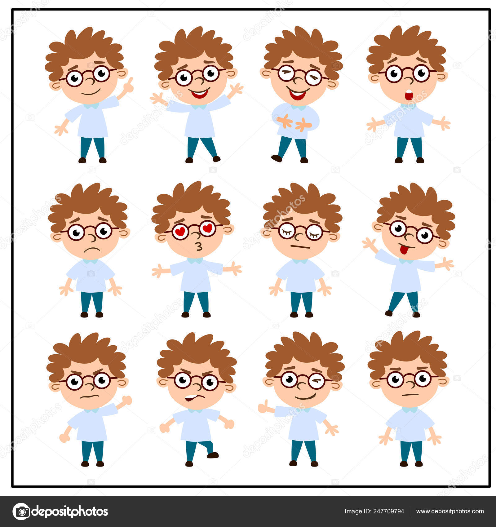 Set Charming Cartoon Characters Boys Glasses Different Emotions