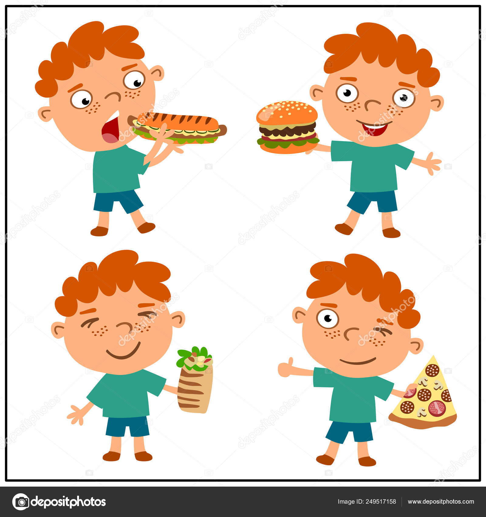 Funny Cartoon Images Of Boys set little funny boys cartoon style eating fast food
