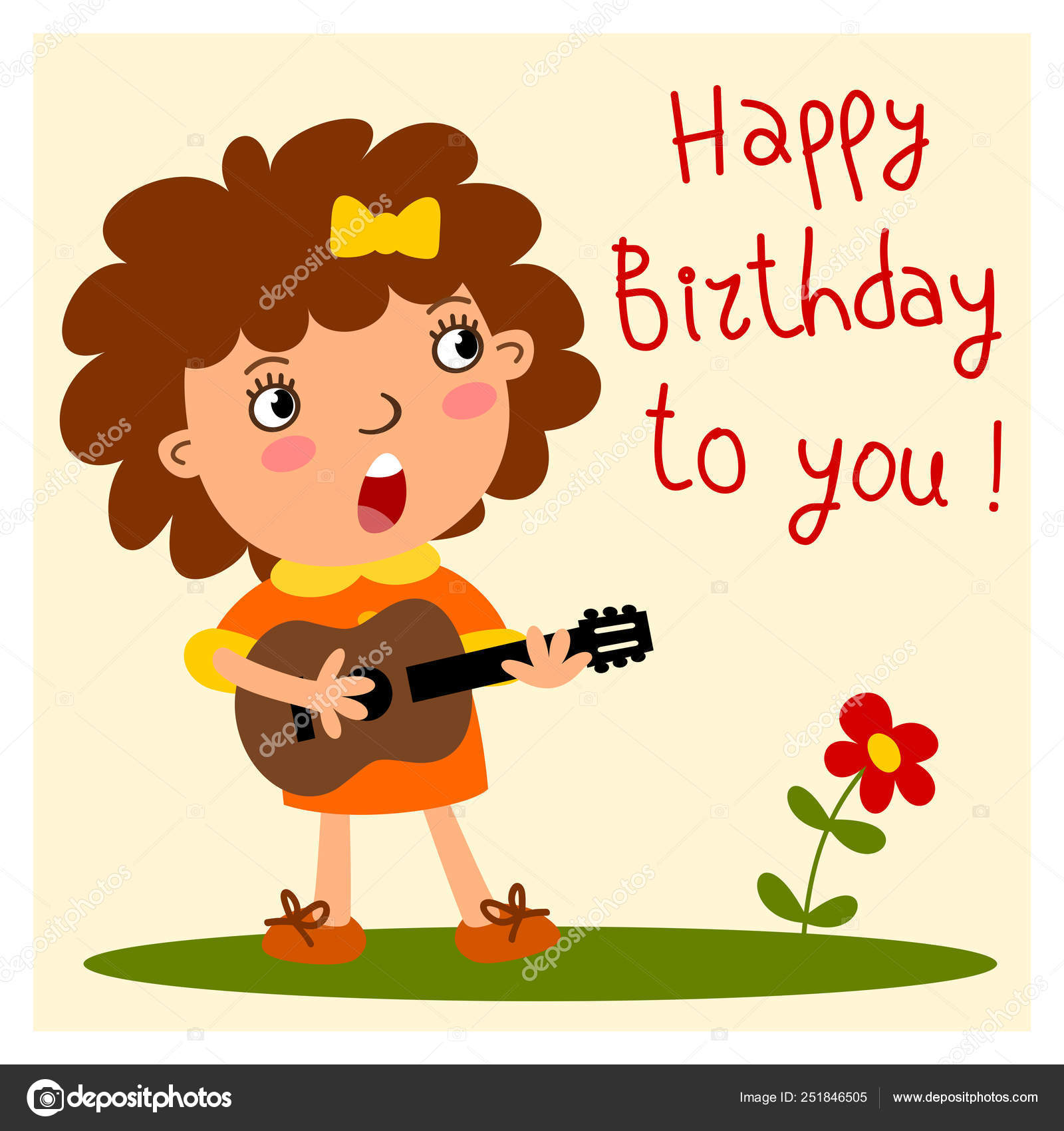 Illustrations Happy Birthday Guitar Funny Girl Guitar Cartoon Style Sings Song Happy Birthday You Stock Vector C Dmitriy D 251846505