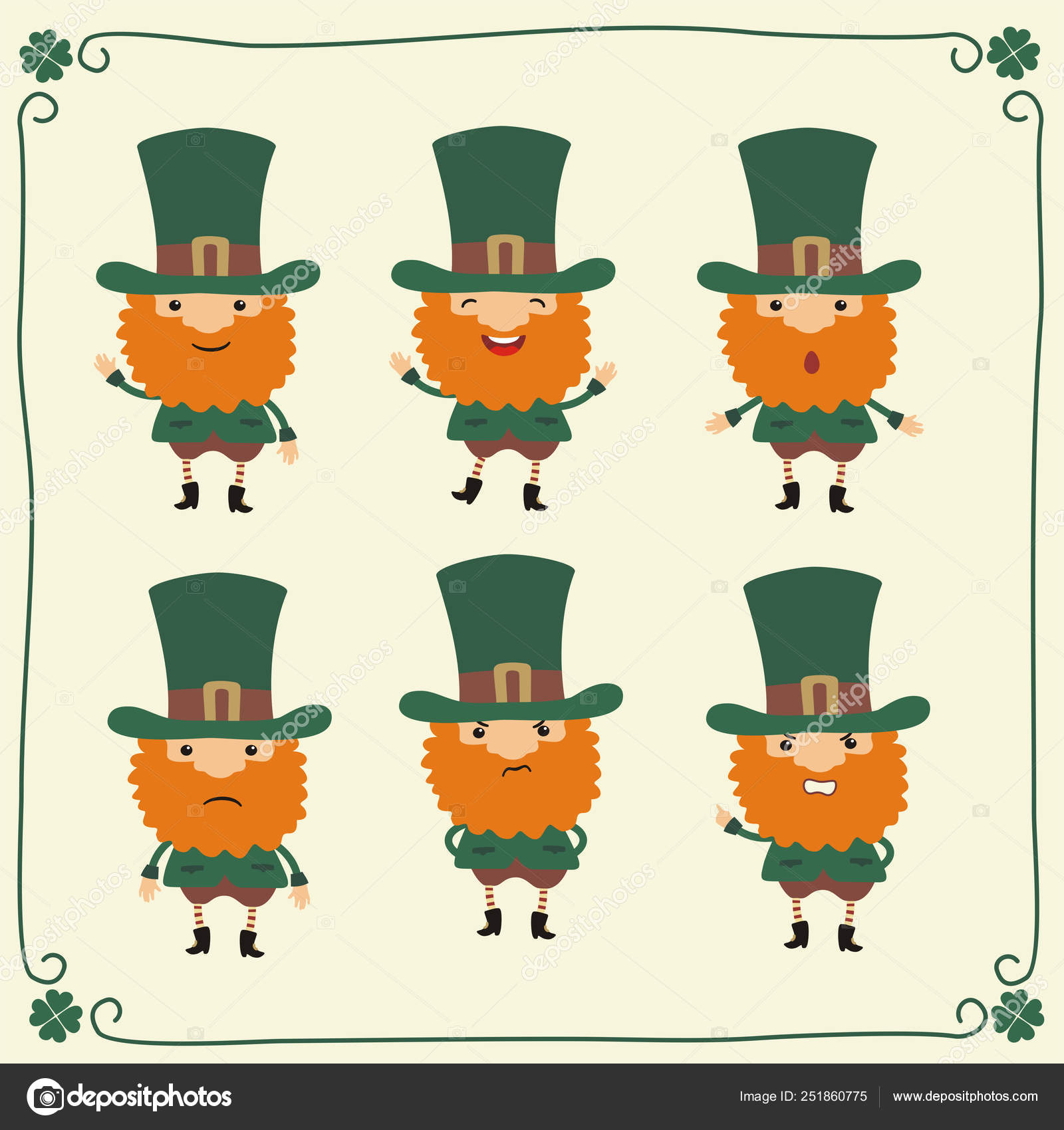 Set Funny Cartoon Characters Leprechauns Different Emotions ...