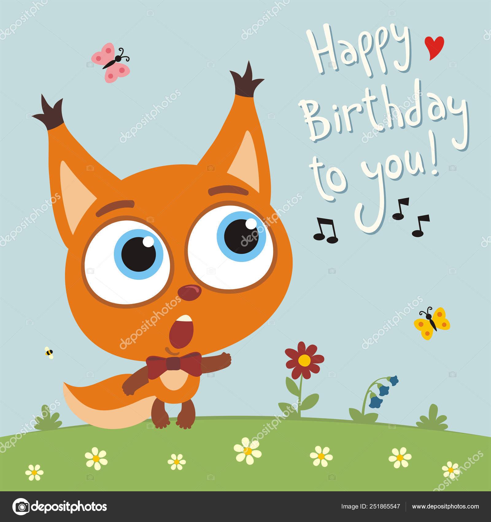 Squirrel singing happy birthday | Greeting Card Cute Funny