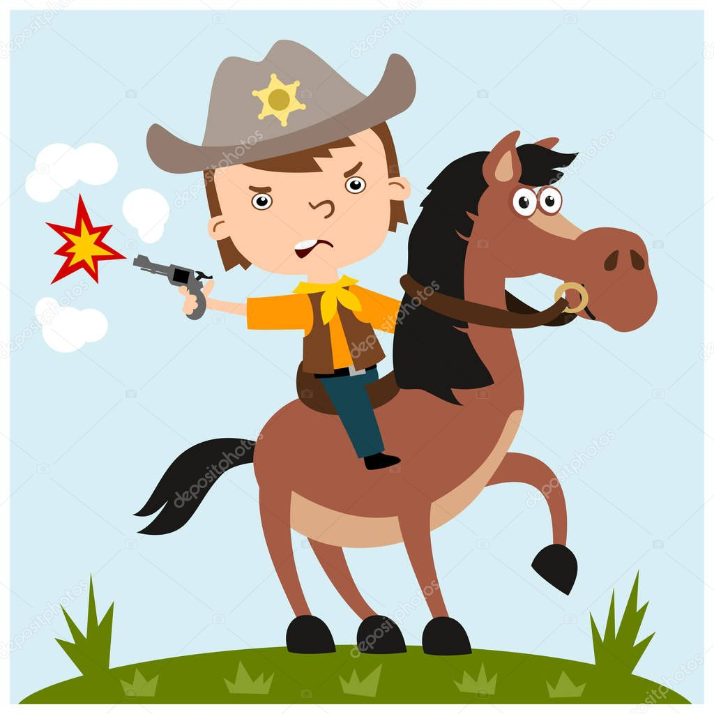Cute Cartoon Character Of Angry Boy In Cowboy Costume Shooting Gun And Riding Horse On Meadow Premium Vector In Adobe Illustrator Ai Ai Format Encapsulated Postscript Eps Eps Format
