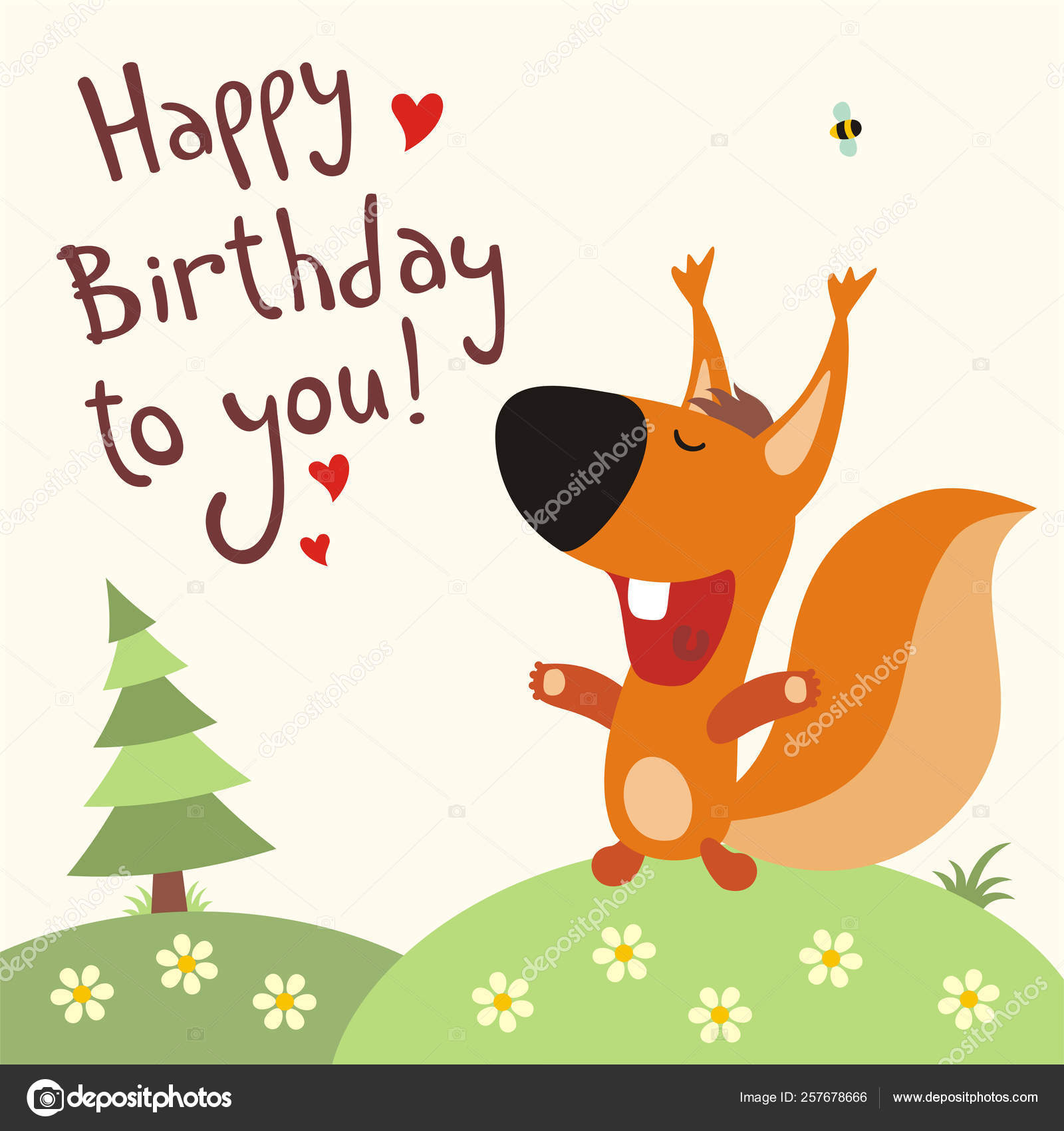 Greeting Card Cute Funny Cartoon Character Squirrel Singing