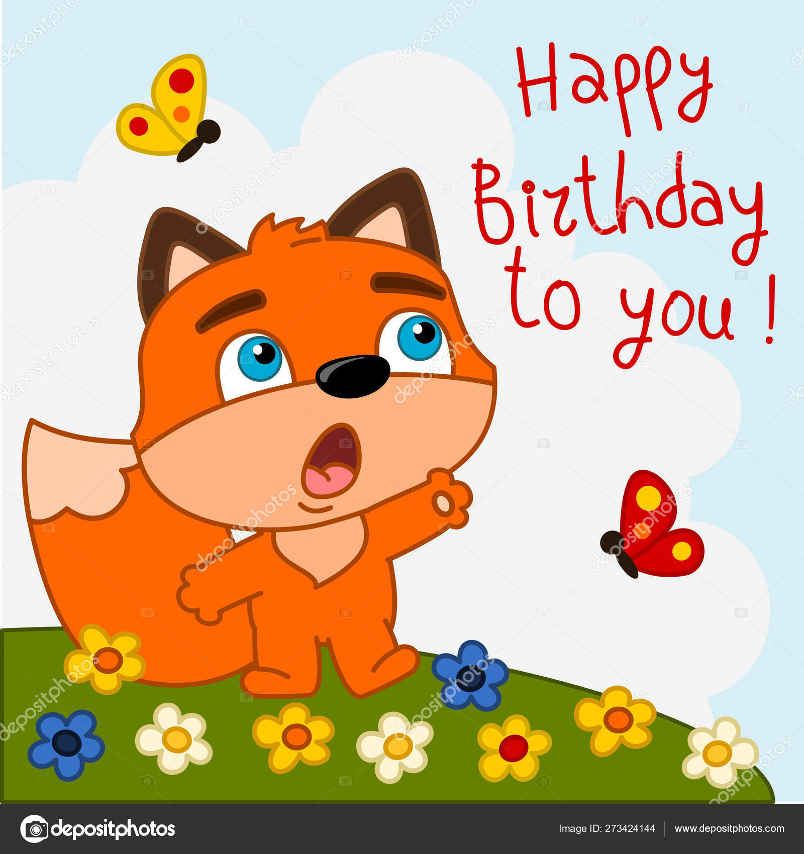 Greeting card with cute funny cartoon character of fox singing Happy  birthday to you song on meadow 8