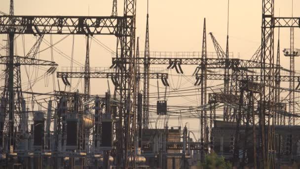 High Voltage Power Station at Sunset