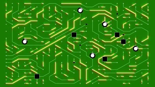 4k egy futurisztikus circuit board mozgó elektronok, elektronikus kapcsolatok, kommunikáció, futurisztikus technológia.