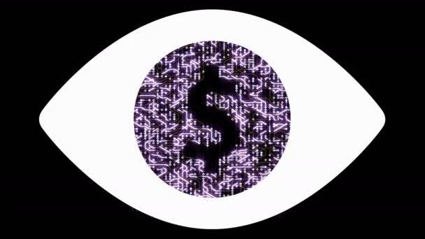 4k egy futurisztikus áramkör mozgó elektronok alakú dollár jel, elvont emberi szem, elektronikus kapcsolatok, Globális internet finanszírozás, világszerte.