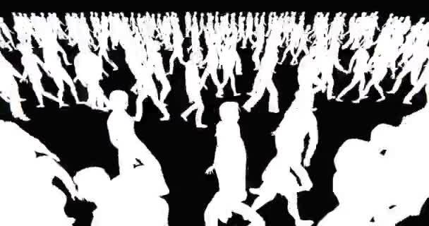 4 k tömeg az emberek séta, a fekete háttér fehér üzletember sziluett.