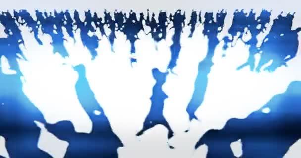 4 k tömeg az emberek séta, üzletember sziluett.