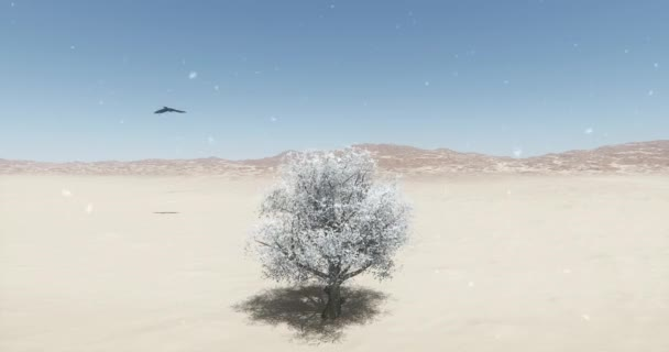 4k eagle flying over wilderness,a lonely tree swaying in the snow at winter.
