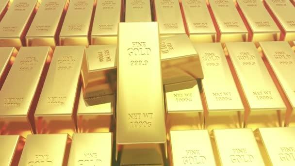 4 k Gold bullion zlaté pruty pokladny bohatství financí ingotu luxusní zboží obchodování, 3d animaci skládaný Zlatých cihel.