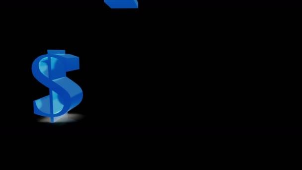 4k USA dollars,China RMB,euro,GBP symbol falling on ground,blue shine sign in black background.