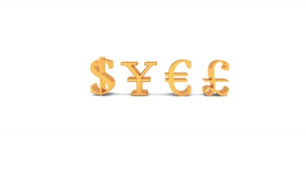Usa Dollars China Rmb Euro Gbp Symbol Golden Metal Sign Stock