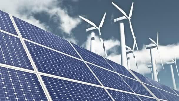 4 k Sonnenkollektoren  Windkraft, Ökostrom gratis klar, Timelapse Wolken fliegen.
