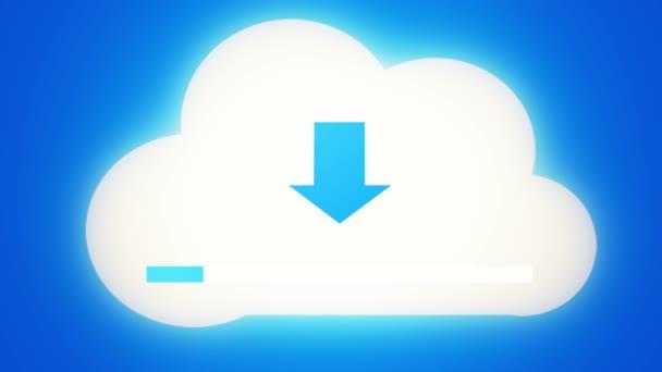 4k Letöltés az informatív felhő, betöltése folyamatban, web tech háttér.