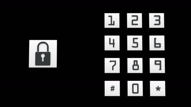 4k input password,bigital lock open,tech background.