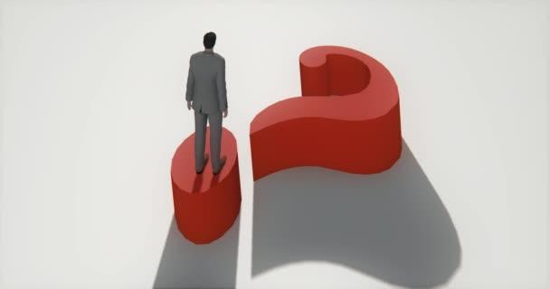 4 k podnikatel, stojící na vrcholu 3d červený otazník