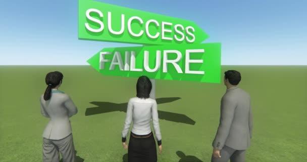 4 k podnikání lidé stojící na přední části úspěch  selhání dopravní značka, proti modré obloze.